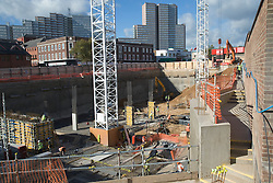 Huntingdon Street project; a busy construction site in the centre of the city of Nottingham,