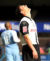 Photo: Paul Thomas.<br />Preston North End v Manchester City. The FA Cup. 18/02/2007.<br /><br />Preston's David Nugent can't believe his luck!