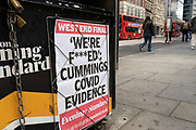 Evening Standard newspaper headline following the select committee hearing of Dominic Cummings where he heavily criticised the government, his former boss and other ministers, especially for their handling of the coronavirus pandemic on 26th May 2021 in London, United Kingdom.