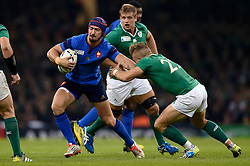 Alexandre Dumoulin of France fends Ian Madigan of Ireland - Mandatory byline: Patrick Khachfe/JMP - 07966 386802 - 11/10/2015 - RUGBY UNION - Millennium Stadium - Cardiff, Wales - France v Ireland - Rugby World Cup 2015 Pool D.