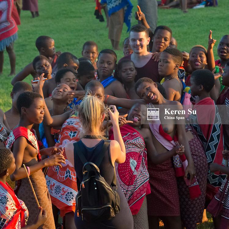 Swazi girls parade at Umhlanga (Reed Dance Festival), Swaziland