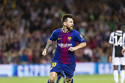 September 12, 2017 - Barcelona, Spain - Lionel Messi celebrates scoring the goal during the match between FC Barcelona - Juventus, for the group stage, round 1 of the Champions League, held at Camp Nou Stadium on 12th September 2017 in Barcelona, Spain. (Credit Image: © Urbanandsport/NurPhoto via ZUMA Press)