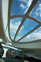 """Himiko's bubble windows,  designed by Reiji Matsumoto one of the most renowned Japanese cartoonists.  He designed the ship in the """"image of a teardrop"""". With its streamlined body and 3D windows, Himiko is also designed for optimum viewing of the scenes along the Sumida River on its journey to Odaiba."""