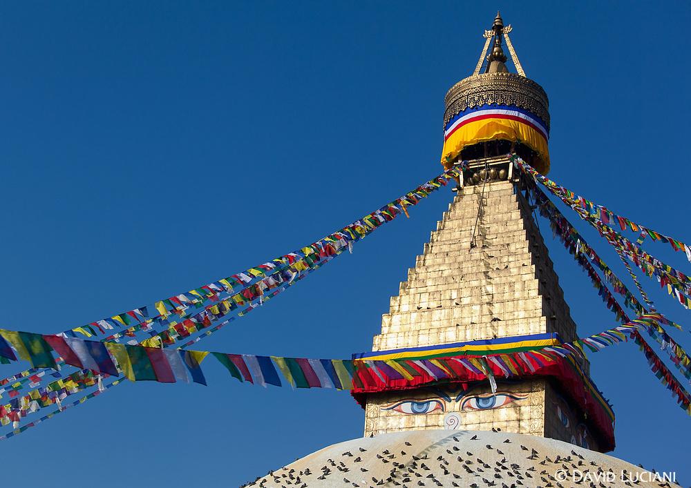 The Buddhist stupa of Boudhanath, lit by the morning sun.