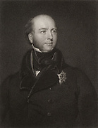 Francis Charles Seymour-Conway, third Marquis Hertford (1777-1842): Vice-Chamberlain to George, Prince of Wales.  The original of the Marquis of Steyne in Thackeray's novel 'Vanity Fair'. Engraving after portrait by Thomas Lawrence.