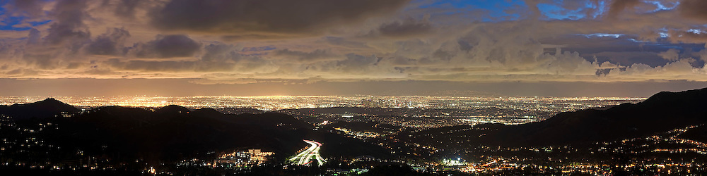 Clearing storm over Los Angeles at dusk.