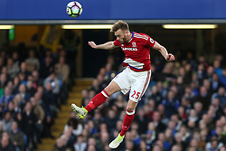 8 May 2017 - Premier League Football - Chelsea v Middlesbrough<br /> Calum Chambers of Boro jumps up for a header<br /> Photo: Charlotte Wilson