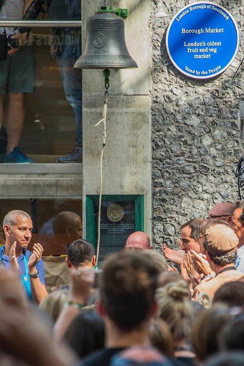The bell is wrung to applause - The market reopening is signified by the ringing of the bell and is attended by Mayor Sadiq Khan. Tourists and locals soon flood back to bring the area back to life.