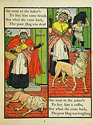 Old Mother Hubbard [English-language nursery rhyme, first given an extended printing in 1805] From the Book The Marquis of Carabas' picture book : containing Puss in Boots, Old Mother Hubbard, Valentine and Orson, the absurd ABC. Illustrated by Walter Crane, Edmund Evans, and Sarah Catherine Martin. Publisher London (The Broadway, Ludgate) ; New York (416 Broome Street) : George Routledge and Sons in 1874
