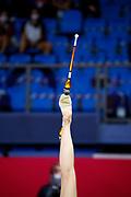 Alina Harnasko from Belarus performs clubs during the rhythmic gymnastics Pesaro 2021 World Cup final.