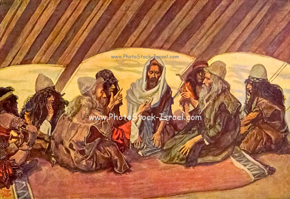 """JETHRO AND MOSES. Ex. xviii. 7. """"And Moses went out to meet his father in law, and did obeisance, and kissed him."""" From the book ' The Old Testament : three hundred and ninety-six compositions illustrating the Old Testament ' Part I by J. James Tissot Published by M. de Brunoff in Paris, London and New York in 1904"""