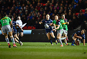 Harlequins full back Mike Brown throws out a pass during a Gallagher Premiership match won by Sale Sharks 27-17 at the AJ Bell Stadium, Eccles, Greater Manchester, United Kingdom, Friday, April 5, 2019. (Steve Flynn/Image of Sport)
