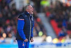 Stoke City manager Paul Lambert gives instrutions on the touchline during the Premier League match at the bet365 Stadium, Stoke.