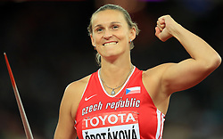 Czech Republic's Barbora Spotakova celebrates taking gold in the Women's Javelin final during day five of the 2017 IAAF World Championships at the London Stadium.