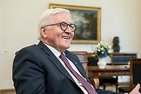 02 JUL 2018, BERLIN/GERMANY:<br /> Frank-Walter Steinmeier, Bundespraesident, waehrend einem Interview, Amtszimmer des Bundespraesidenten, Schloss Bellevue<br /> IMAGE: 20180702-01-054<br /> KEYWORDS: Bundespräsident