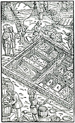 Producing salt by evaporating sea water in salt pans. In foreground salt is being Packed in barrels ready for transportation. From Agricola 'De re metallica', Basel, 1556. Woodcut