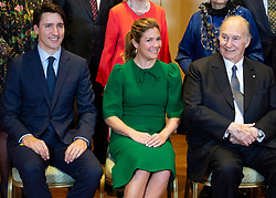 Prime Minister Justin Trudeau and his wife Sophie Gregoire Trudeau sit for a photo with the Aga Khan before a reception to mark his Diamond Jubilee as 49th Hereditary Imam of the Shia Imami Ismaili Muslims at Rideau Hall in Ottawa, ON, Canada, on Wednesday, May 2, 2018. Photo by Justin Tang/CP/ABACAPRESS.COM