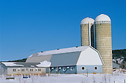 Barn and silo on dairy farm in winter<br /> Ville-Marie<br /> Quebec<br /> Canada