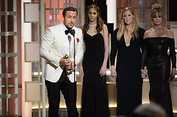 "Jan 8, 2017 - Beverly Hills, California, U.S - RYAN GOSLING accepts the Golden Globe Award for BEST PERFORMANCE BY AN ACTOR IN A MOTION PICTURE – COMEDY OR MUSICAL for his role in ""La La Land"" at the 74th Annual Golden Globe Awards at the Beverly Hilton in Beverly Hills, CA on Sunday, January 8, 2017. (Credit Image: ? HFPA/ZUMAPRESS.com)"