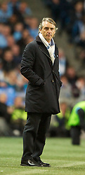 MANCHESTER, ENGLAND - Monday, April 30, 2012: Manchester City's manager Roberto Mancini against Manchester United during the Premiership match at the City of Manchester Stadium. (Pic by Chris Brunskill/Propaganda)