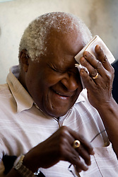Desmond Tutu, the South African Nobel Peace Prize laureate, stands outside the Children's Memorial in the Yad Vashem Holocaust memorial complex in Jerusalem, Israel on August 25, 2009, at the conclusion of The Elders visit to the facility. The Elders are on their first visit as a group to Israel and the Palestinian Authority area in the West Bank in order to offer their support for those working hard to promote peaceful coexistence, however Israel is not letting them visit the Hamas-controlled Gaza Strip. Photo by Olivier Fitoussi/ABACAPRESS.COM    199634_008 Jerusalem Israël