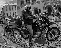 Motorcycle Riders. Street Photography in Lisbon. Image taken with a Nikon D850 camera and 8-15 mm fisheye lens.