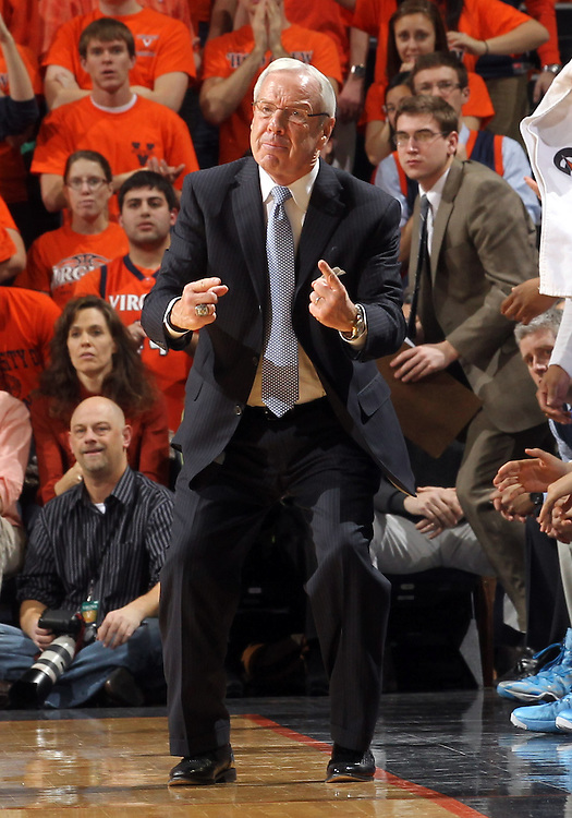 North Carolina head coach Roy Williams reacts to a call during the second half of an NCAA basketball game against Virginia Monday Jan. 20, 2014 in Charlottesville, VA. Virginia defeated North Carolina 76-61. (Photo/Andrew Shurtleff)