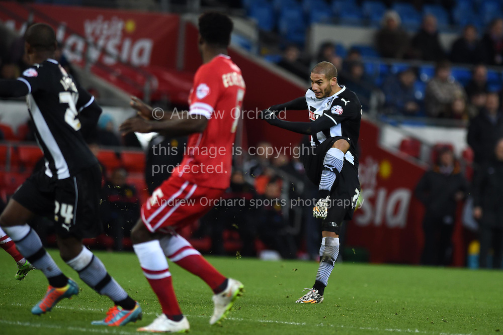 Watford 's Adlene Guedioura ®  scores his teams 3rd goal to make it 1-3.  Skybet football league championship match, Cardiff city v Watford at the Cardiff city stadium in Cardiff, South Wales on Sunday 28th December 2014<br /> pic by Andrew Orchard, Andrew Orchard sports photography.