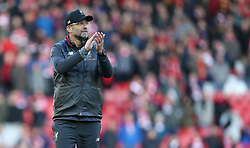 Liverpool manager Jurgen Klopp reacts after the final whistle during the Premier League match at Anfield, Liverpool.