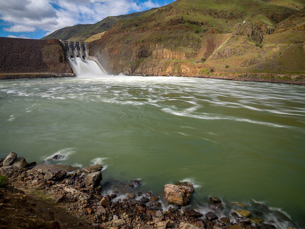 Oxbow Dam Spillway on the Snake River in Hells Canyon.  Licensing and Open Edition Prints