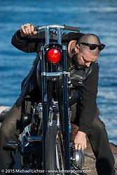 "Oliver Jones with his 1969 HD Shovelhead ""EREBUS"" before the Mooneyes before the Mooneyes Yokohama Hot Rod & Custom Show. Yokohama, Japan. December 5, 2015.  Photography ©2015 Michael Lichter."
