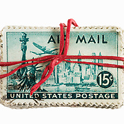 Stamps held by rubber band from USA
