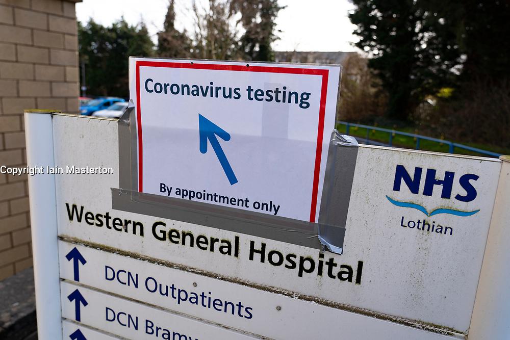 Edinburgh, Scotland, UK. 12 March, 2020. Sign towards Coronavirus testing bay at NHS Lothian Western General Hospital in Edinburgh today. Iain Masterton/Alamy Live News