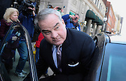 Former Connecticut Gov. John Rowland leaves federal court in New Haven. Rowland was sentenced to 30 months in prison for his role in a political consulting scheme on Wednesday, exactly one decade after he was ordered behind bars in an earlier scandal that forced him from office. (AP Photo/Jessica Hill)