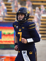 Dec 5, 2020; Berkeley, California, USA; California Golden Bears quarterback Chase Garbers (7) warms up before the game against the Oregon Ducks at California Memorial Stadium. Mandatory Credit: Kelley L Cox-USA TODAY Sports