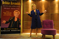 File photo dated 01/04/2010 of Debbie Reynolds in London celebrating her 78th birthday as she has been rushed to hospital after suffering a stroke, barely a day after the death of her daughter Carrie Fisher, according to reports.
