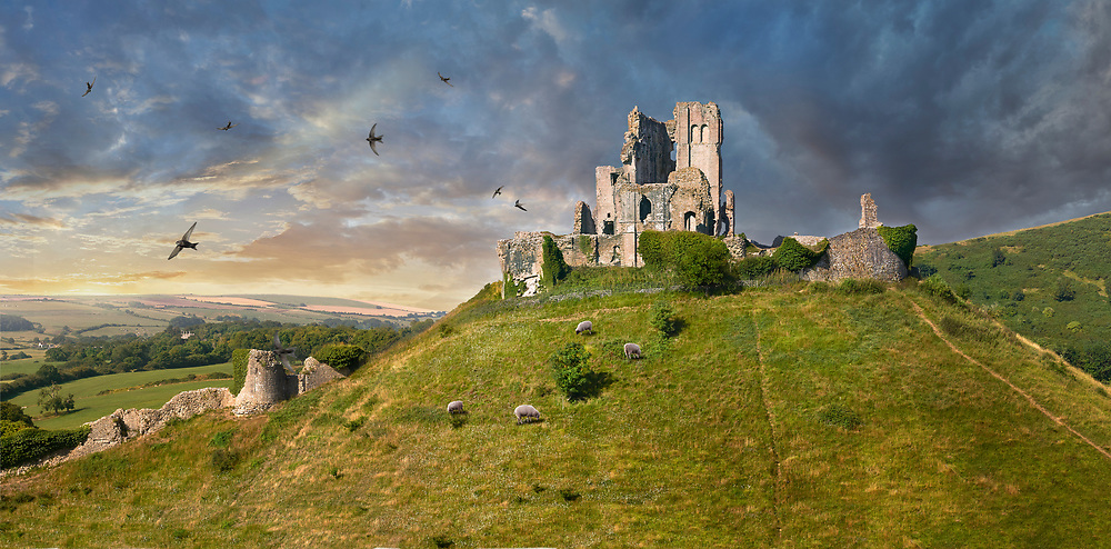 Towering Delusions -  Panorama of Medieval Corfe castle keep  close up  sunrise, built in 1086 by William the Conqueror on a man made hill, Dorset England. By photographer Paul E Williams.<br /> <br /> Visit our LANDSCAPE PHOTO ART PRINT COLLECTIONS for more wall art photos to browse https://funkystock.photoshelter.com/gallery-collection/Places-Landscape-Photo-art-Prints-by-Photographer-Paul-Williams/C00001WetsxVxNTo