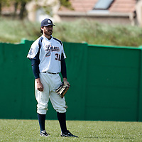 18 April 2010: Tim Stewart of Savigny is seen at left field during game 1/week 2 of the French Elite season won 8-1 by Savigny (Lions) over Senart (Templiers), at Parc municipal des sports Jean Moulin in Savigny-sur-Orge, France.