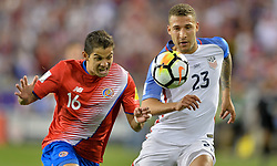 September 1, 2017 - Harrison, NJ, USA - Harrison, N.J. - Friday September 01, 2017:  Cristian Gamboa, Fabian Johnson during a 2017 FIFA World Cup Qualifying (WCQ) round match between the men's national teams of the United States (USA) and Costa Rica (CRC) at Red Bull Arena. (Credit Image: © John Todd/ISIPhotos via ZUMA Wire)