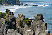Layered rock patterns at Punakaiki Pancake Rocks and Blowholes Walk, on Dolomite Point in Paparoa National Park, between Westport and Greymouth in the West Coast region of New Zealand's South Island.