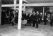 22/05/1963<br /> 05/22/1963<br /> 22 May 1963<br /> Opening of the Intercontinental Hotel, Pembroke Road, Ballsbridge, Dublin. The hotel was officially opened by An Taoiseach Mr. Sean Lemass. <br /> Image shows Taoiseach Sean Lemass (2nd from right) watching as the National Flag is raised at the mast of the Hotel. Also in the picture are Robert Huyot, President, Intercontinental Hotels Corporation; Alderman J.J. O'Keeffe, T.D. Lord Mayor of Dublin and James Gorman (right) President of Intercontinental Hotels (Ireland) Ltd. and Mrs Lemass in the background.