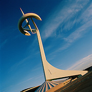 The Montjuic Communications Tower (popularly known as Torre Calatrava), in Barcelona, Spain