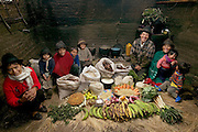 The Ayme family in their kitchen house in Tingo, Ecuador, a village in the central Andes, with one week's worth of food. Ermelinda Ayme Sichigalo, 37, and Orlando Ayme, 35, sit flanked by their children (left to right): Livia, 15, Natalie, 8, Moises, 11, Alvarito, 4, Jessica, 10, Orlando hijo (Junior, held by Ermelinda), 9 months, and Mauricio, 30 months. Not in photograph: Lucia, 5, who lives with her grandparents to help them out. From the book Hungry Planet: What the World Eats (Model Released)