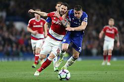 8 May 2017 - Premier League Football - Chelsea v Middlesbrough<br /> Alvaro Negredo of Boro and Gary Cahill of Chelsea battle for the ball<br /> Photo: Charlotte Wilson