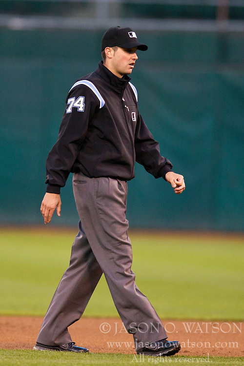 August 2, 2010; Oakland, CA, USA;  Second base umpire John Tumpane (74) during the fourth inning of the game between the Oakland Athletics and the Kansas City Royals at Oakland-Alameda County Coliseum. Oakland defeated Kansas City 6-0.