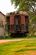 Bouza has a collection of old railway carriages that will be converted into a tasting room. Currently in a state of terrible disrepair. Bodega Bouza Winery, Canelones, Montevideo, Uruguay, South America