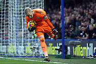 Kasper Schmeichel , goalkeeper of Leicester City in action. Premier League match, Chelsea v Leicester City at Stamford Bridge in London on Saturday 13th January 2018.<br /> pic by Steffan Bowen, Andrew Orchard sports photography.