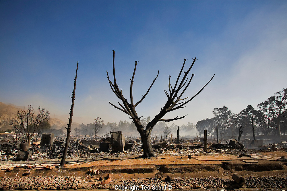 Wild fire devastates a mobile home park in the Sylmar area of Los Angeles. Over 500 mobile homes in the Oakridge Mobile Home Park were completely destroyed by a fast moving fire storm.