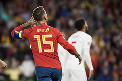 October 15, 2018 - Seville, Spain - SERGIO RAMOS (L ) laments after missing a chance at goal during the UEFA Nations League Group A4 soccer match between Spain and England at the Benito Villamarin Stadium (Credit Image: © Daniel Gonzalez Acuna/ZUMA Wire)