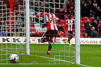 Brentford FC's Jota scores his second goal of the season during the Sky Bet Championship match between Brentford and Reading at Griffin Park, London<br /> Picture by Mark D Fuller